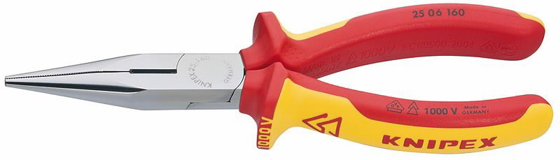 Replės smailianosės su šoniniu kirpimu, VDE, 160 mm, Knipex