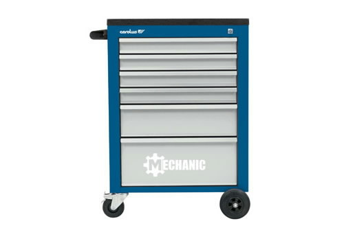 Workshop trolley MECHANIC, 6 drawers, blue/grey, Carolus