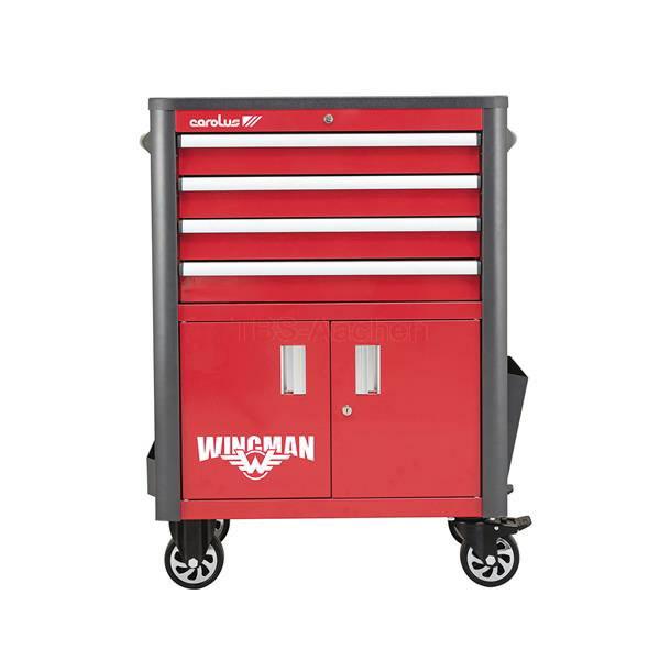 Workshop trolley WINGMAN, 4 drawers, red/anthracite 2054.10 2054.10, Carolus