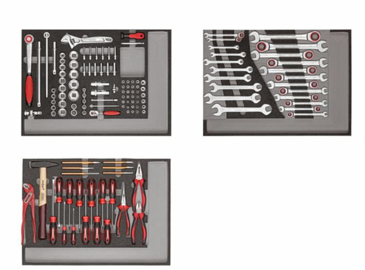 Workshop trolley MECHANIC red with tool set 132pc, Carolus