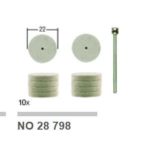 Diskelis poliravimui Ø 22 mm su laikikliu, 10 vnt., Proxxon