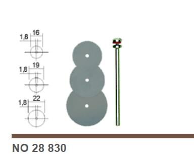 Diskelių pjovimui su laikikliu kompl., plieniniai, 3 vnt., Proxxon