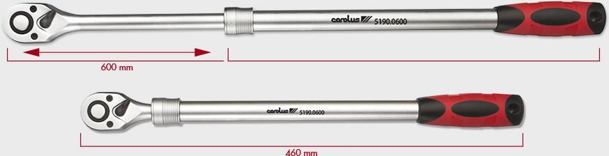 """Teleskopinė terkšlė  1/2"""" 460-600 Nm, Carolus"""