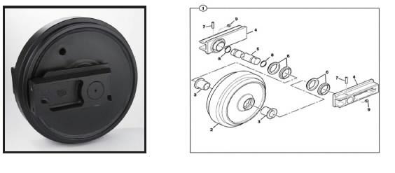 Ritinėlis vikšro tempimo mechanizmo, mazgas, JCB