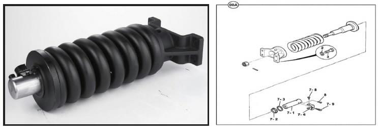 Spyruoklė vikšro įtempiklio, mazgas, JS180-220, JCB