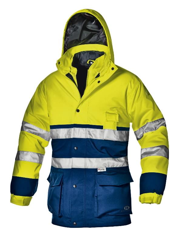 Kõrgnähtav talvejope Regimental, kollane/tumesinine, M, Sir Safety System