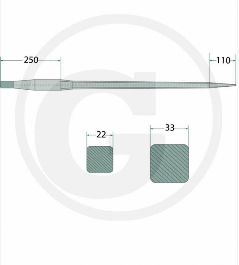 Tine, 980mm, M30x2, GRANIT
