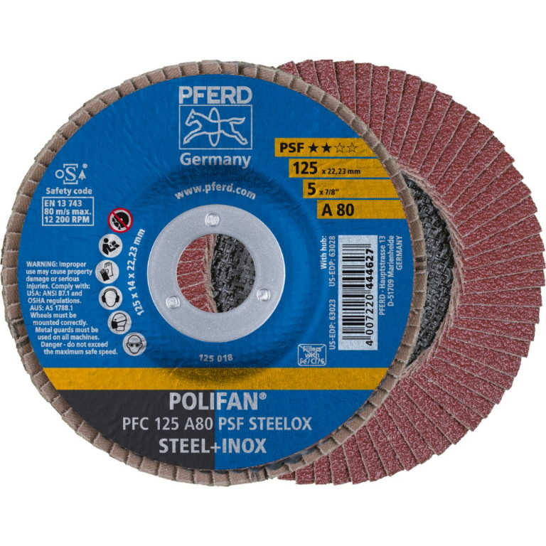 Vėduoklinis diskas 125mm A80 PSF PFC POLIFAN, Pferd