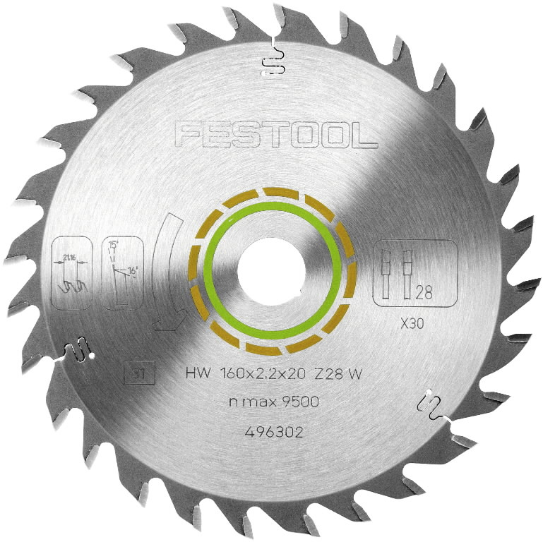 Saw blade 210x2,4x30, W36, 15°. Wood, soft plastic, gypsum, Festool