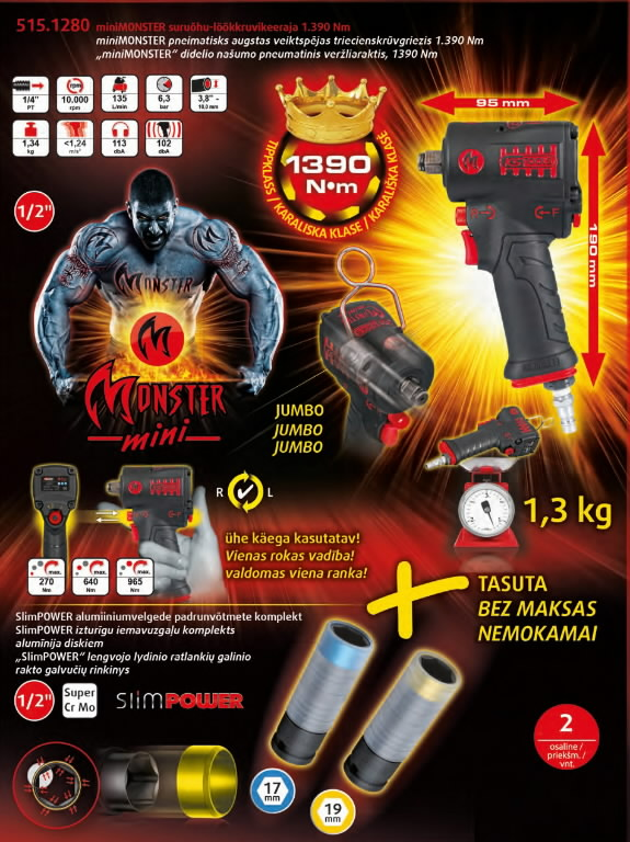 "pn.mutrikeeraja 1/2"" MONSTER Mini 1390Nm + veljepadrunid, KS Tools"