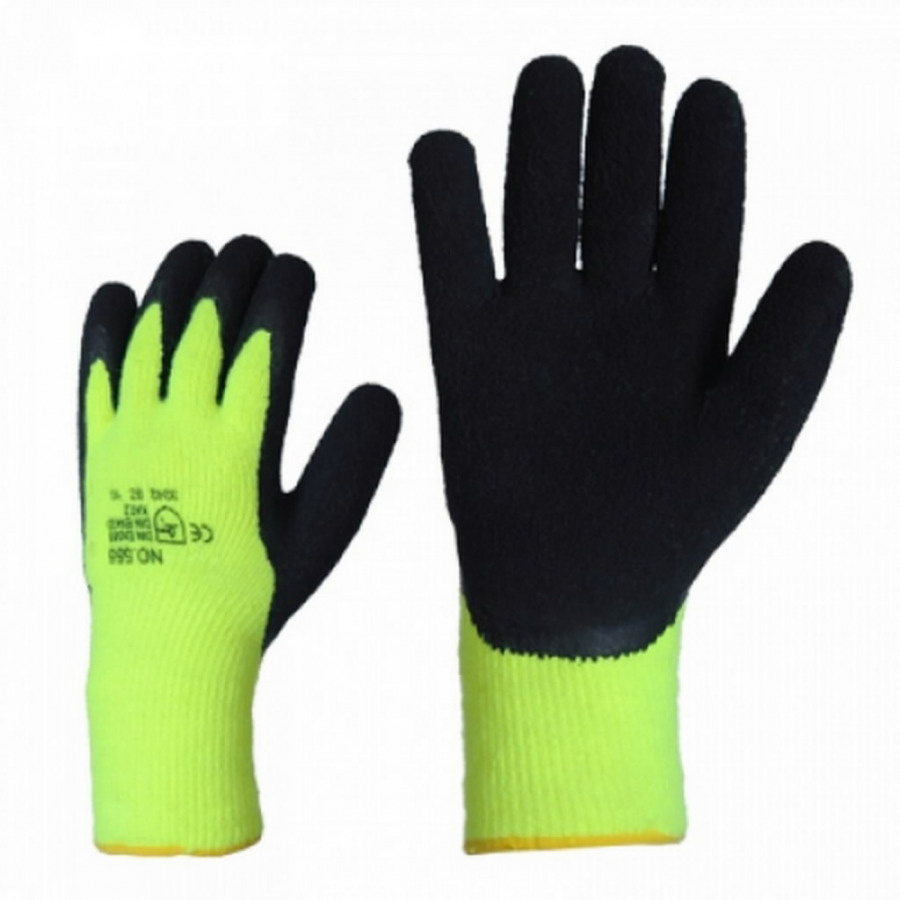 Gloves, knitted, structured latex palms, HiViz, winter