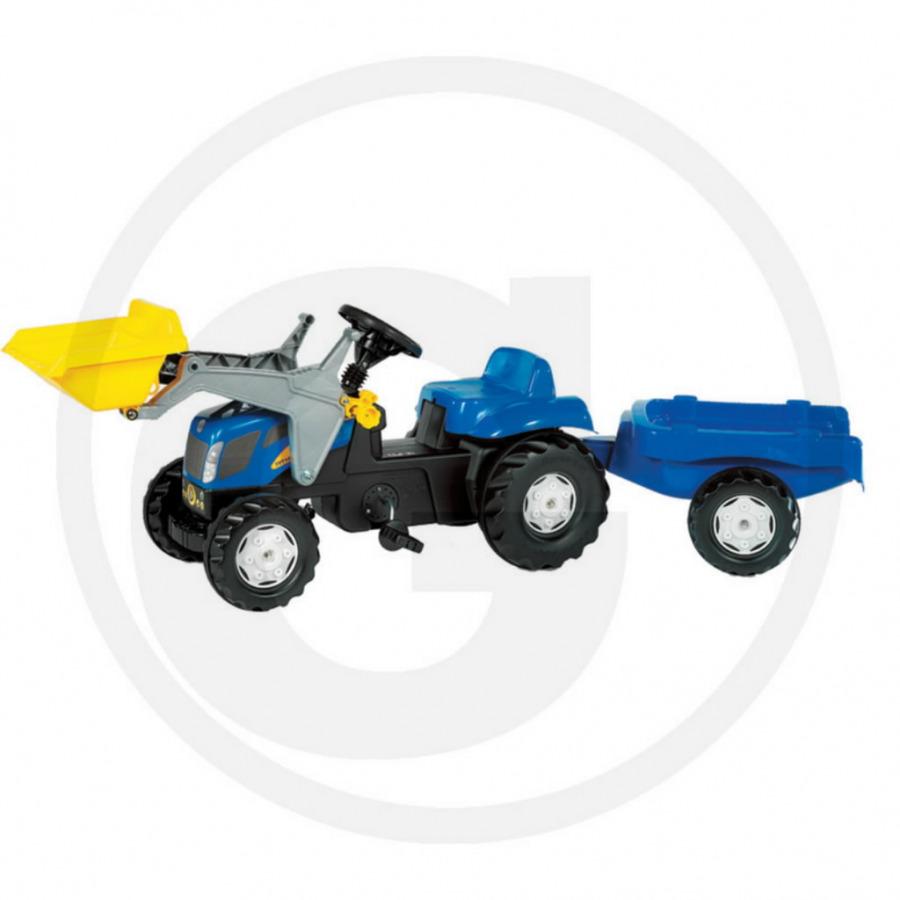 Mängutraktor pedaalidega järelkäruga Rolly Toys NH T 7550, Granit