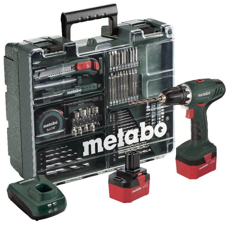 Akutrell BS 12 NiCd Mobile Workshop, 2x1,7 Ah, 74 tarvikuga, Metabo