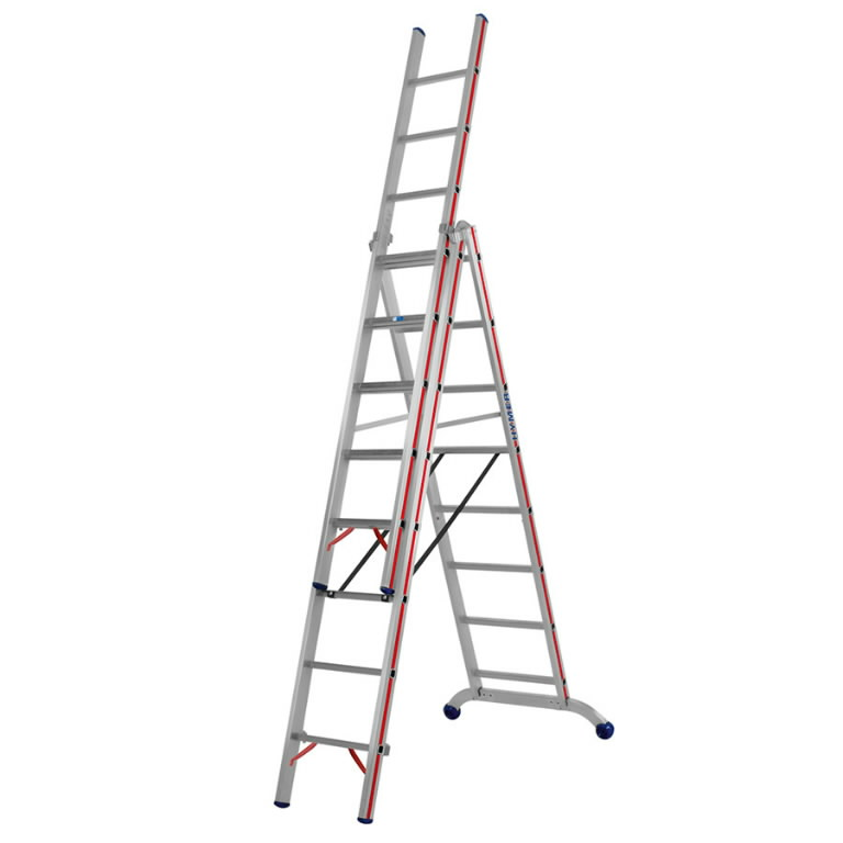 Combination ladder, three-section 3x6 6047, Hymer