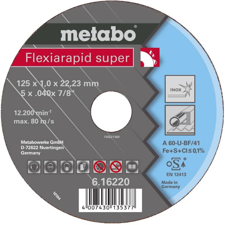 INOX lõikeketas 125x1,0x22 mm, A60U, Metabo