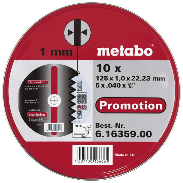 INOX lõikekettad 125x1,0x22 mm, A60R. Metallkarbis 10tk, Metabo