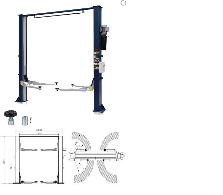 2-post tõstuk el.hüdrauliline 6240E/ATL-YD2-40E 4T , SCT, BEST