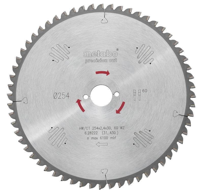 Saeketas 250x2,8/1,8x30, z34, 15° WZ, Precision cut, Metabo
