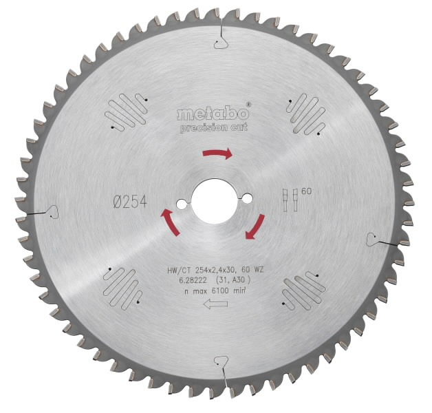 Saeketas 250x2,8/1,8x30, z60, 15° WZ. Precision cut, Metabo