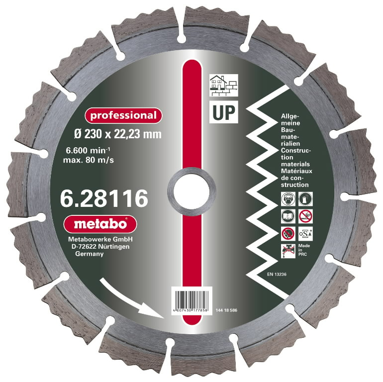 Diamond cutting disc 180x22,23 mm, professional, UP, Metabo