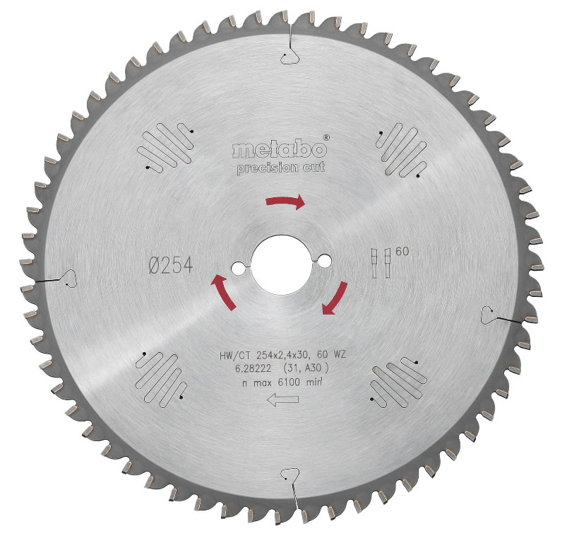 Saeketas 254x2,4/1,8x30, z60, WZ, -5°. Precision cut, Metabo
