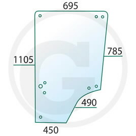 Door glass JD L57908, GRANIT