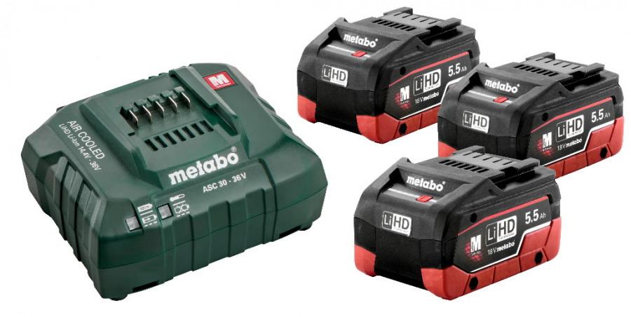 Basic set: 3 x 5,5Ah LiHD akud + laadija, Metabo