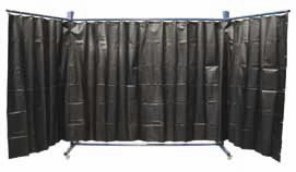 Wheeled welding curtain frame 4,5m wide, green, VLAMBOOG
