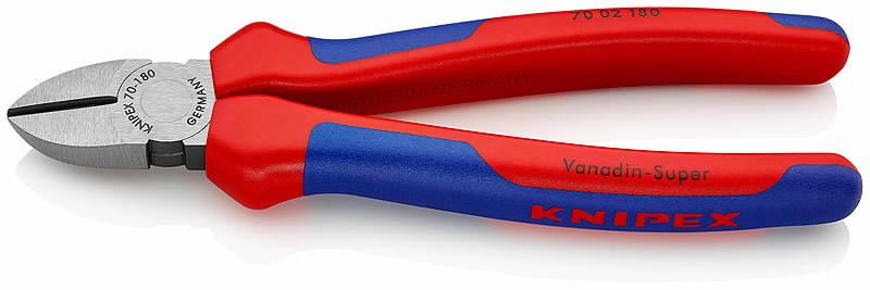 Žnyplės šoninio kirpimo, dvispalvės 180 mm, Knipex