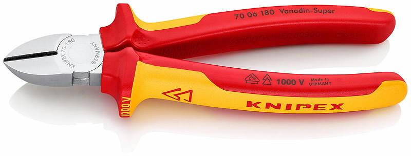 Žnyplės šoninio kirpimo, VDE, 180 mm, Knipex