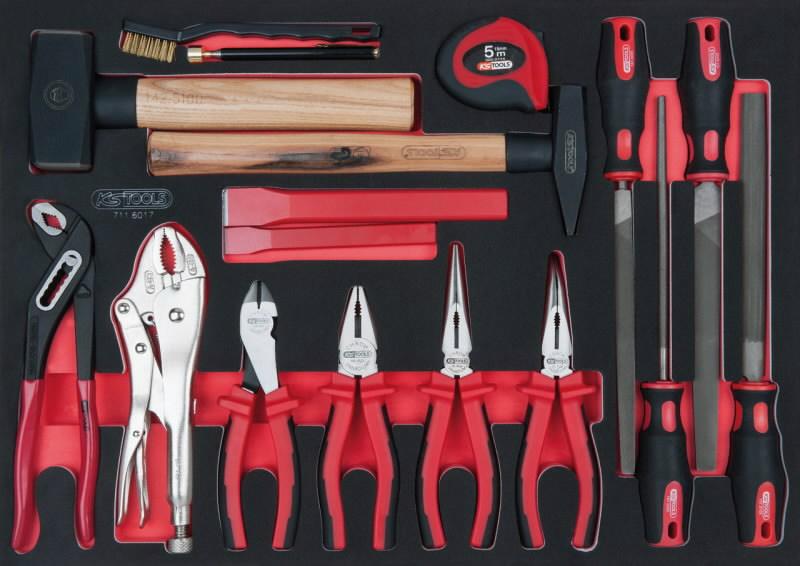 pliers, hammer and file set 17-pcs 1/1 system insert, KS Tools