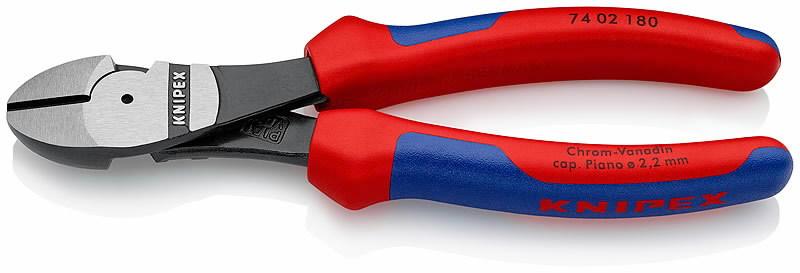Žnyplės šoninio kirpimo, jėgos, dvispalvės, 180 mm, Knipex