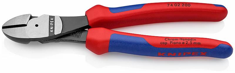Žnyplės šoninio kirpimo, jėgos, dvispalvės, 200 mm, Knipex
