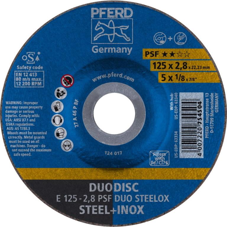 Pjovimo ir šlifavimo diskas  125x2, 8 A46P PSF INOX, Pferd