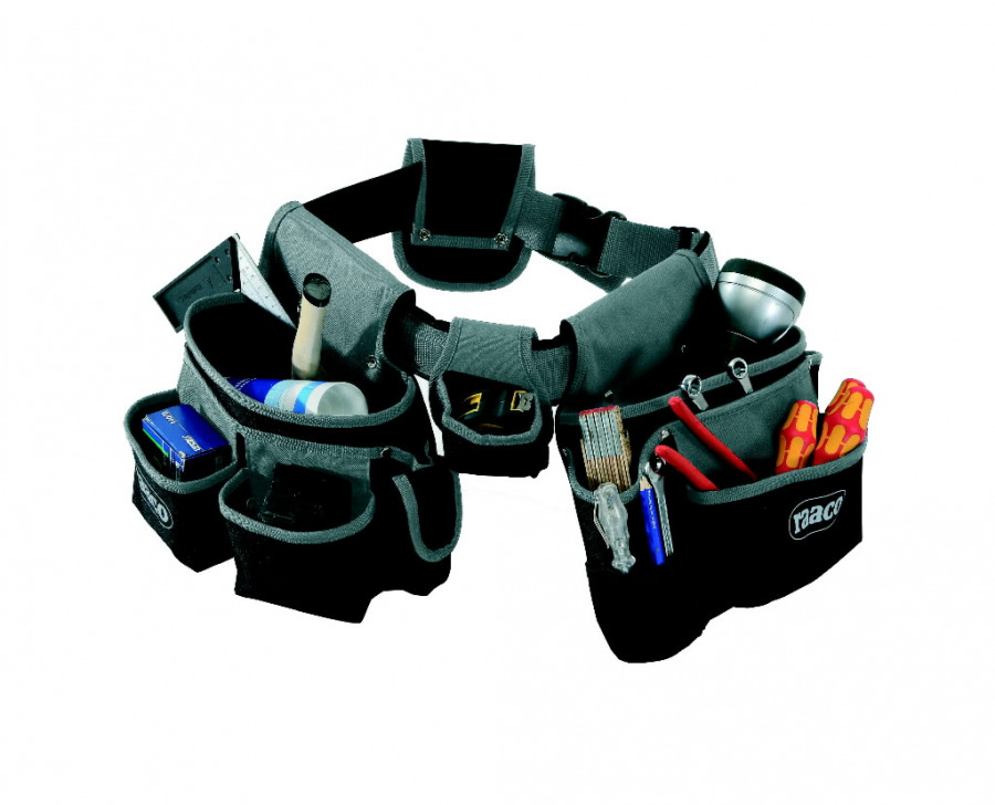 Padded tool belt with a large number of pockets, Raaco