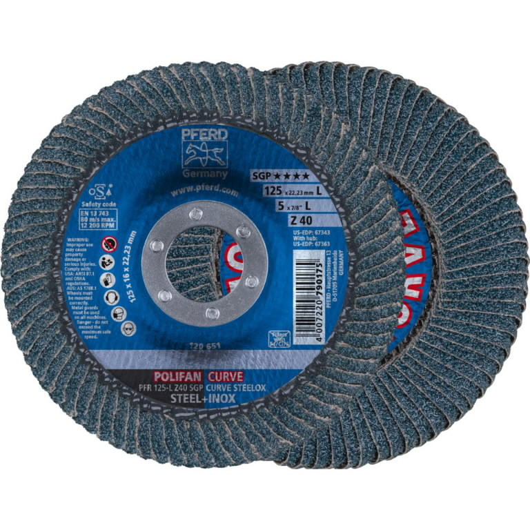 Vėduoklinis diskas 125mm Z40 SGP-CURVE L, >8mm, Pferd