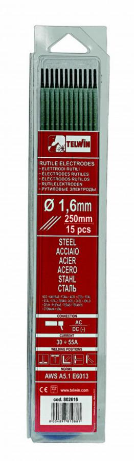 k.elektroodid RUTILE 1,6x250mm 15tk, Telwin