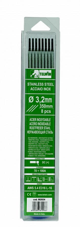 k.elektroodid INOX 3,2x350mm 8tk, Telwin