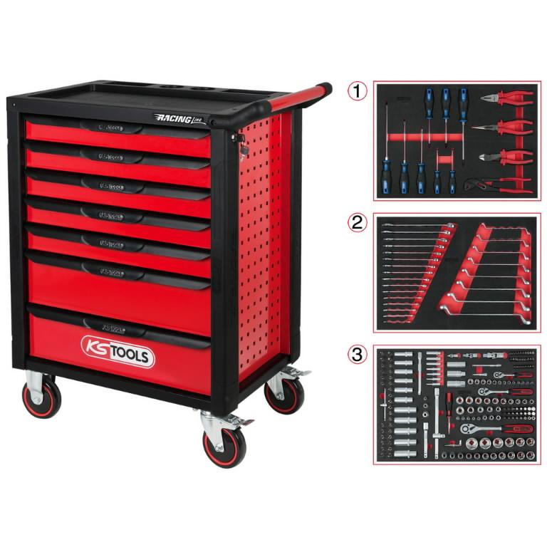 RACINGline įrankių spintelė su 7 stalčiais, KS tools