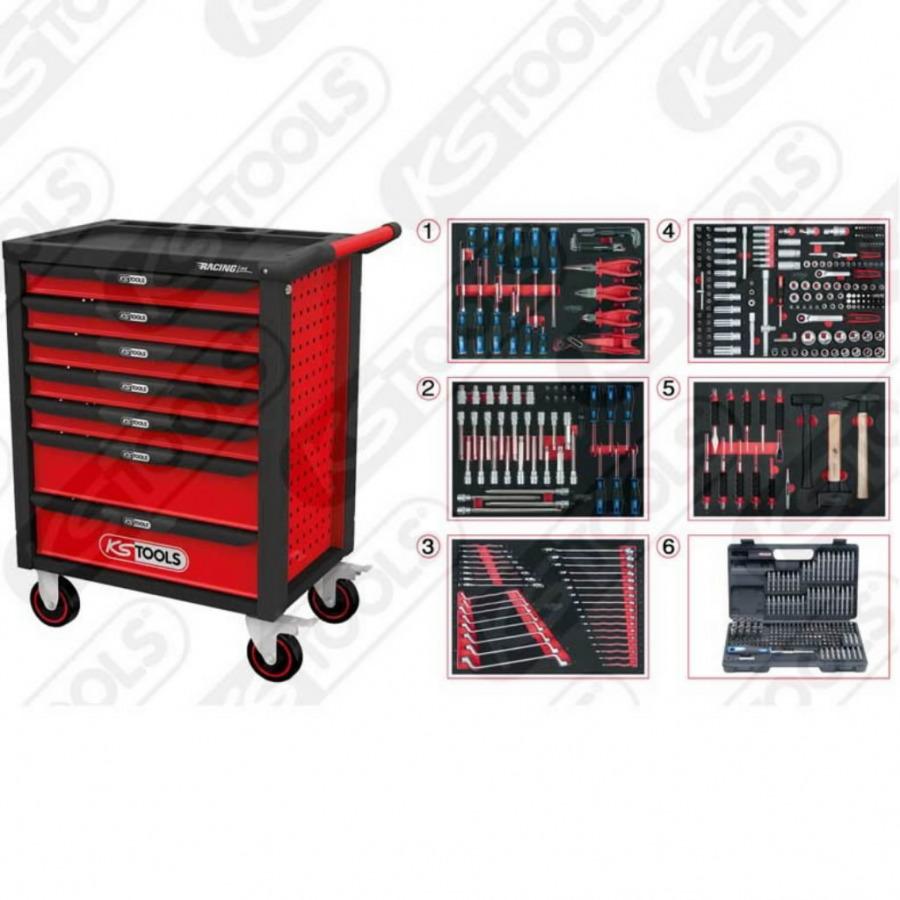 RACINGline įrankių spintelė su 7 stalčiais + 511 vnt, KS tools