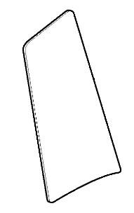 Stiklas kabinos šoninis, kairės pusės, lenktas, JCB