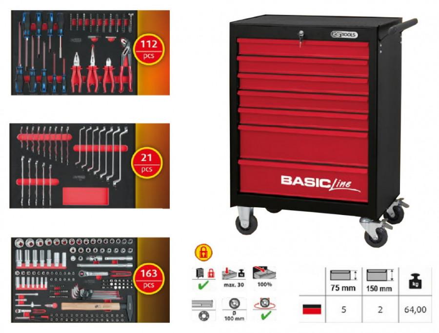 tööriistakäru BASIC line 7 sahtlit + tööriistad 296-osa, KS Tools