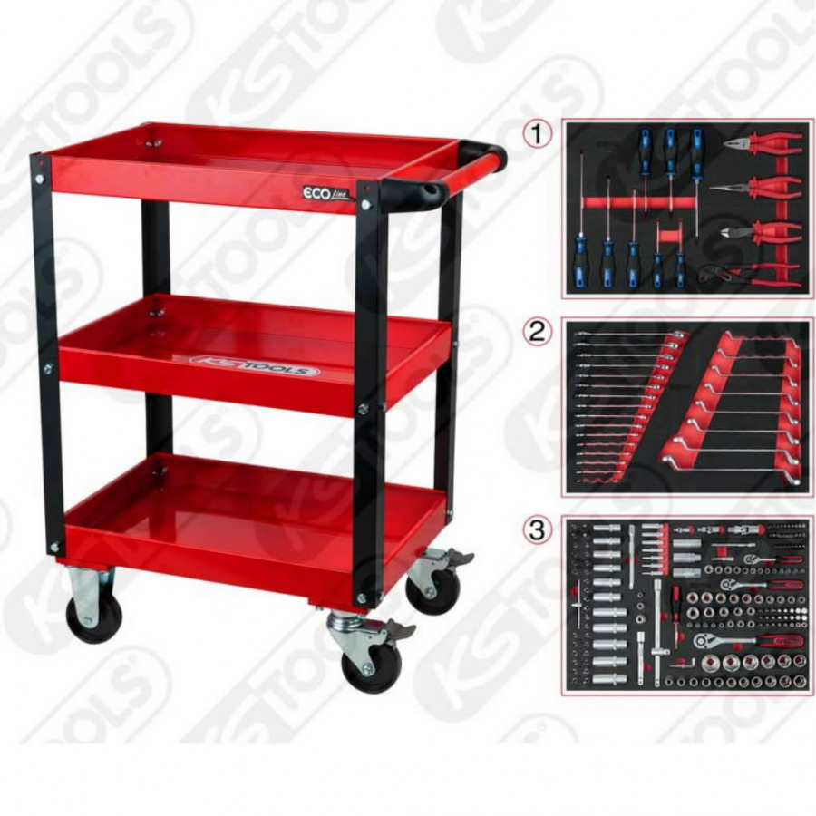 Įrankių spintelė su 215 įrankių, KS tools
