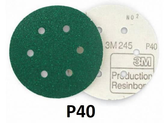 Šlifavimo diskas 150mm P40 6sk.  245 Hookit, 3M
