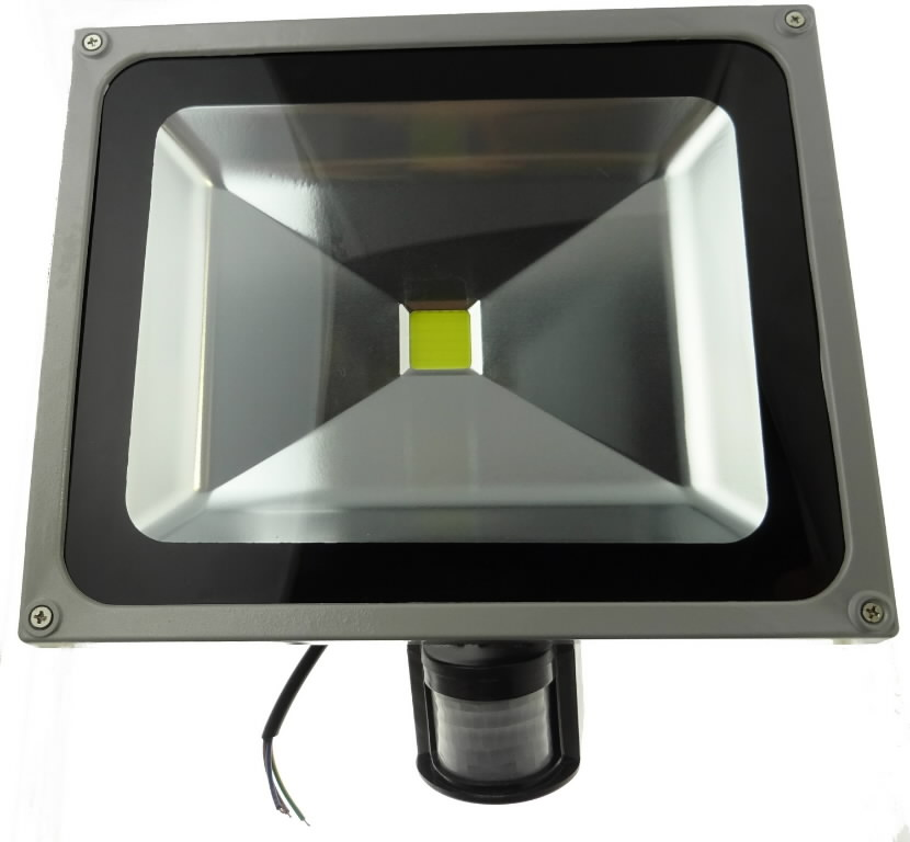 LED flood light 50W  IP54 with wall mount and PIR sensor, SLED