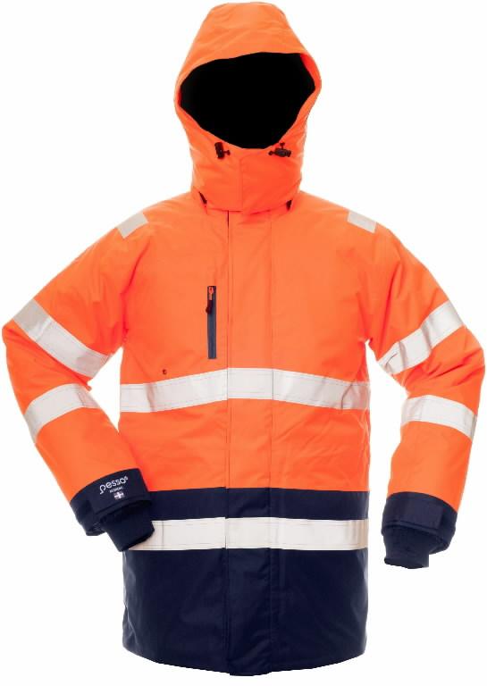 Kõrgnähtav talvejope kapuutsiga Pesso 8955, Oranz/sinine