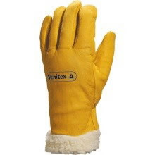GLOVES, FULL LEATHER / FLEECE-LINED CUFF. Size 8, Venitex