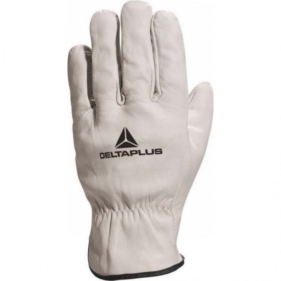 Gloves, grey cowhide leather, red edge 11, Venitex