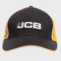 Kepurė su snapeliu , juoda su geltona juosta, JCB