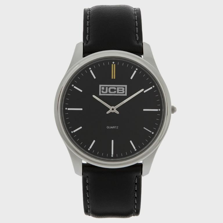 Black leather strap watch, JCB